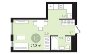 ЖК «Первый квартал», планировка студии, 24.00 м²