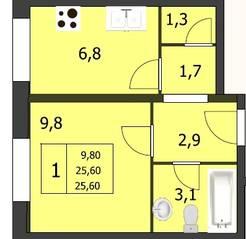 ЖК «Ёлкино», планировка 1-комнатной квартиры, 26.30 м²