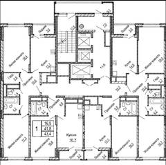 ЖК «Центральный» (Долгопрудный), планировка студии, 44.70 м²