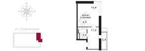 ЖК «Свой», планировка 1-комнатной квартиры, 36.50 м²