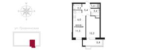 ЖК «Свой», планировка 2-комнатной квартиры, 48.10 м²