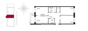 ЖК «Свой», планировка 3-комнатной квартиры, 96.50 м²