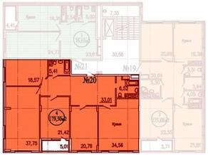 ЖК «Дубровка», планировка 4-комнатной квартиры, 185.00 м²
