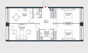 ЖК «Ривер Парк», планировка 3-комнатной квартиры, 84.10 м²