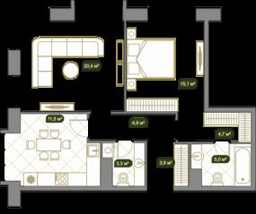 ЖК «West Garden», планировка 2-комнатной квартиры, 68.80 м²