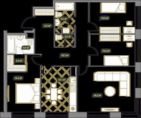 ЖК «West Garden», планировка 4-комнатной квартиры, 115.70 м²