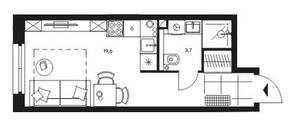 МФК «Level Стрешнево», планировка 1-комнатной квартиры, 23.30 м²