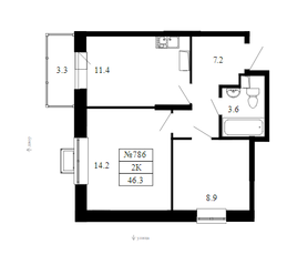 ЖК «Облака», планировка 2-комнатной квартиры, 46.30 м²