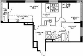 ЖК «Вереск», планировка 4-комнатной квартиры, 93.70 м²