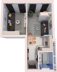 МФК «Дегунин», планировка 1-комнатной квартиры, 23.00 м²