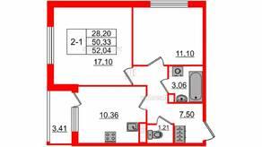 МЖК «Солнечный город Резиденции», планировка 2-комнатной квартиры, 50.30 м²