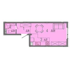МЖК «Верево-Сити», планировка студии, 26.70 м²