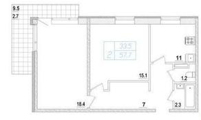 МЖК «Заповедный», планировка 2-комнатной квартиры, 60.70 м²