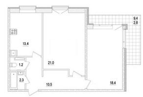 МЖК «Заповедный», планировка 2-комнатной квартиры, 70.80 м²