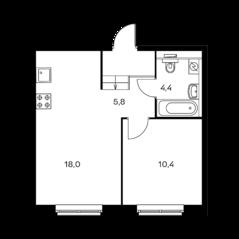 ЖК «Holland park», планировка 1-комнатной квартиры, 38.60 м²