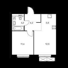 ЖК «Holland park», планировка 1-комнатной квартиры, 40.10 м²