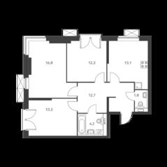 ЖК «Holland park», планировка 3-комнатной квартиры, 74.00 м²