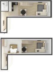 МЖК «в Привокзальном переулке», планировка студии, 44.00 м²