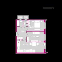 МФК «Like», планировка 2-комнатной квартиры, 54.02 м²