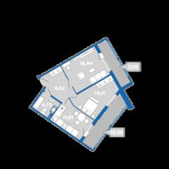 МФК «Like», планировка 2-комнатной квартиры, 73.95 м²