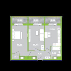 МФК «Like», планировка 2-комнатной квартиры, 67.20 м²