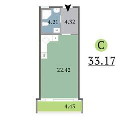 МЖК «Red Village», планировка студии, 33.17 м²