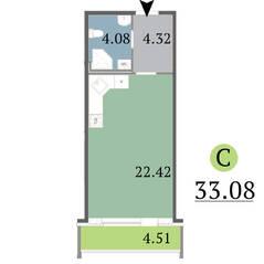 МЖК «Red Village», планировка студии, 33.08 м²