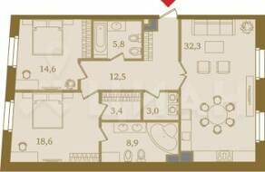 ЖК «Art View House», планировка 2-комнатной квартиры, 99.10 м²