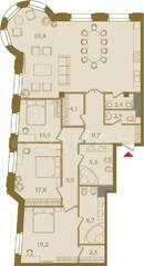 ЖК «Art View House», планировка 3-комнатной квартиры, 153.90 м²