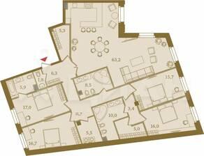 ЖК «Art View House», планировка 4-комнатной квартиры, 191.00 м²