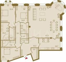 ЖК «Art View House», планировка 4-комнатной квартиры, 219.20 м²