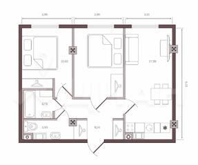 ЖК «Monodom на Малом», планировка 2-комнатной квартиры, 52.80 м²