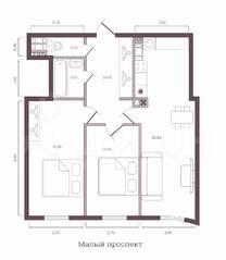 ЖК «Monodom на Малом», планировка 2-комнатной квартиры, 70.90 м²