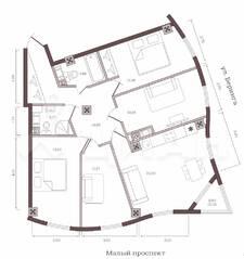 ЖК «Monodom на Малом», планировка 4-комнатной квартиры, 98.50 м²