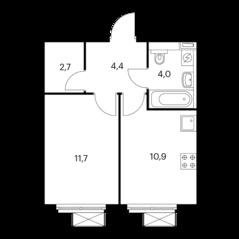 ЖК «Волжский парк», планировка 1-комнатной квартиры, 33.70 м²