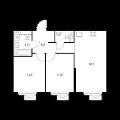 ЖК «Волжский парк», планировка 2-комнатной квартиры, 54.70 м²