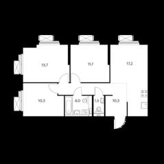 ЖК «Волжский парк», планировка 3-комнатной квартиры, 68.70 м²