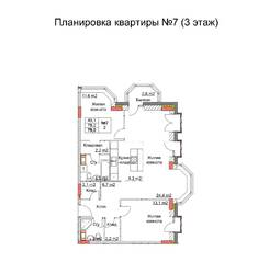ЖК «Клюквенный», планировка 3-комнатной квартиры, 79.00 м²