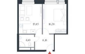 МФК «Citimix», планировка 1-комнатной квартиры, 42.90 м²