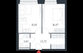 МФК «Citimix», планировка 1-комнатной квартиры, 48.90 м²