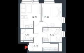 МФК «Citimix», планировка 2-комнатной квартиры, 57.20 м²