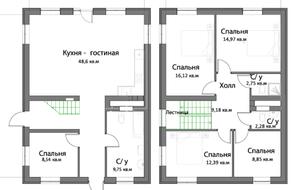 КП «Новая Ижора», планировка 5-комнатной квартиры, 146.80 м²
