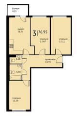 МЖК «Петровская мельница», планировка 3-комнатной квартиры, 76.95 м²