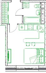 МФК «Monodom family», планировка студии, 27.00 м²