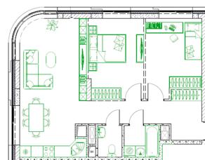 МФК «Monodom family», планировка 3-комнатной квартиры, 66.40 м²