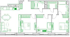 МФК «Monodom family», планировка 4-комнатной квартиры, 92.10 м²