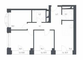 МФК «Новоданиловская 8», планировка 3-комнатной квартиры, 65.30 м²
