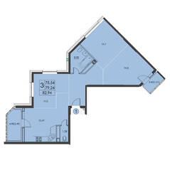 ЖК «Квартал 3», планировка 3-комнатной квартиры, 82.94 м²