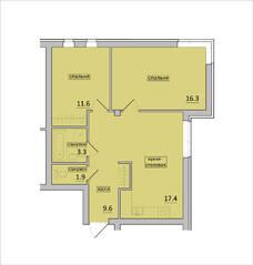 МЖК «Петровская мельница», планировка 2-комнатной квартиры, 60.10 м²