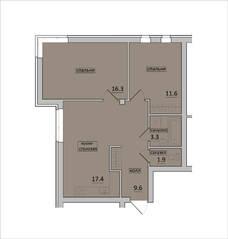 МЖК «Петровская мельница», планировка 2-комнатной квартиры, 60.20 м²